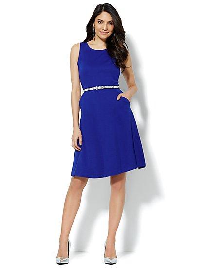 Sleeveless Cotton Flare Dress - Solid - Petite - New York & Company