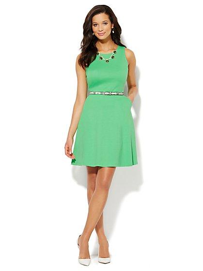 Sleeveless Cotton Flare Dress - Solid  - New York & Company