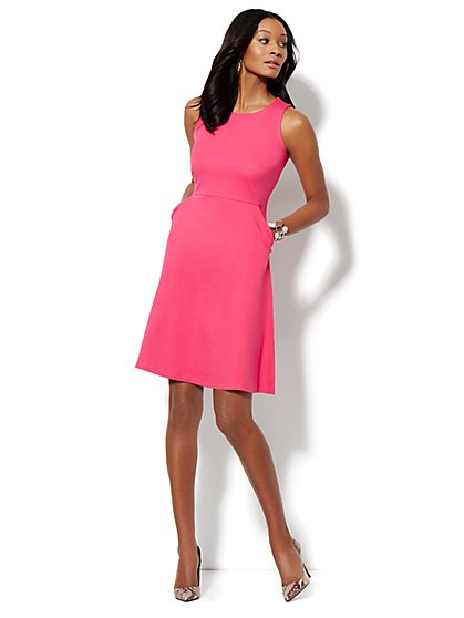 Sleeveless Cotton Flare Dress - Solid  - New York & Company