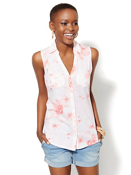 Sleeveless Cotton Top - Floral  - New York & Company