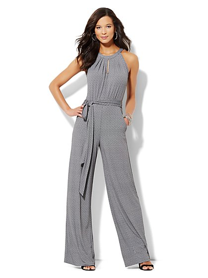 Sleeveless Crewneck Jumpsuit - Graphic Print  - New York & Company