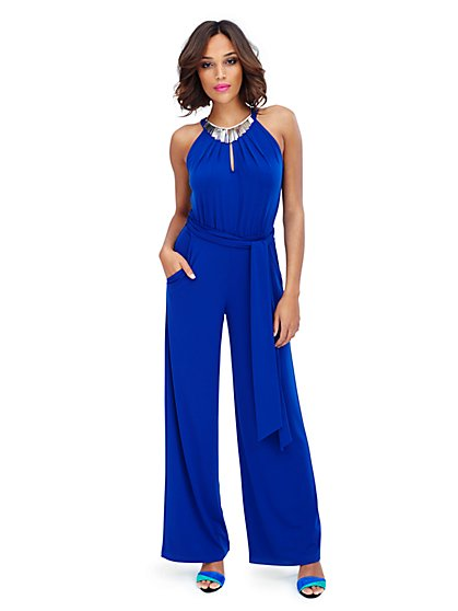 Sleeveless Crewneck Jumpsuit - Solid  - New York & Company