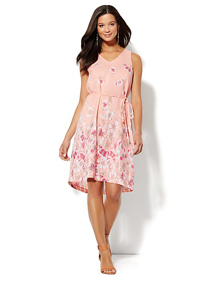 Sleeveless Cutout-Detail Dress - Butterfly Print  - New York & Company