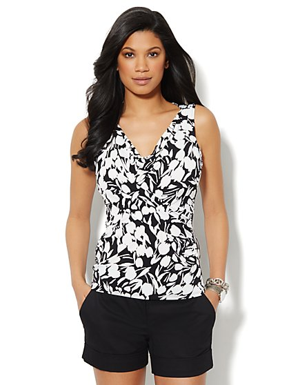 Sleeveless Drape Knit Top - Abstract Print