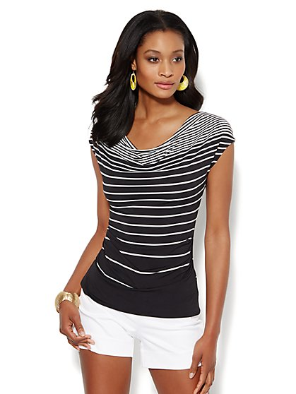 Sleeveless Draped Top - Stripe - New York & Company