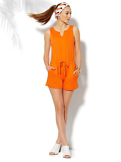 Sleeveless Drawstring Romper - Solid  - New York & Company