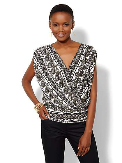 Sleeveless Faux-Wrap Top - Paisley - Petite  - New York & Company