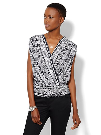 Sleeveless Faux-Wrap Top - Paisley  - New York & Company