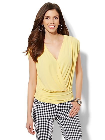 Sleeveless Faux-Wrap Top - Solid  - New York & Company