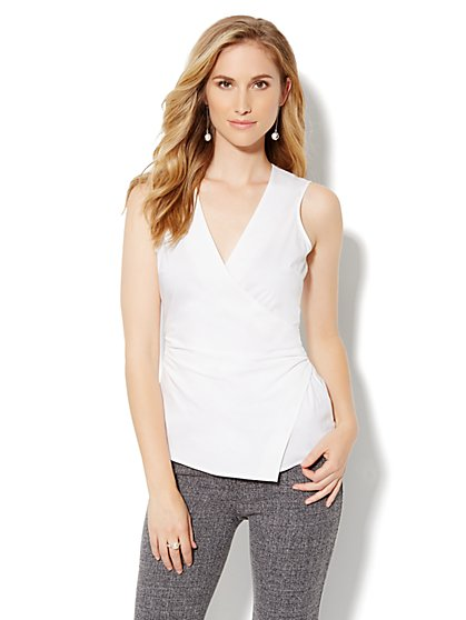 Sleeveless Faux-Wrap Top - New York & Company