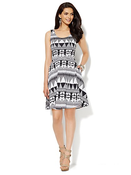 Sleeveless Flare Dress - Abstract Aztec Print - New York & Company