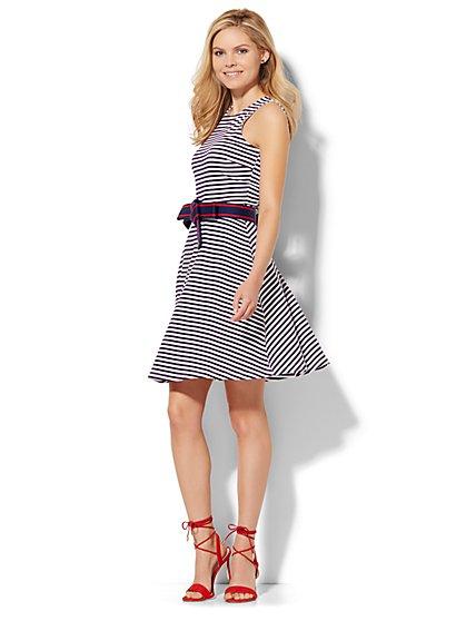 Sleeveless Flare Dress - Stripe  - New York & Company