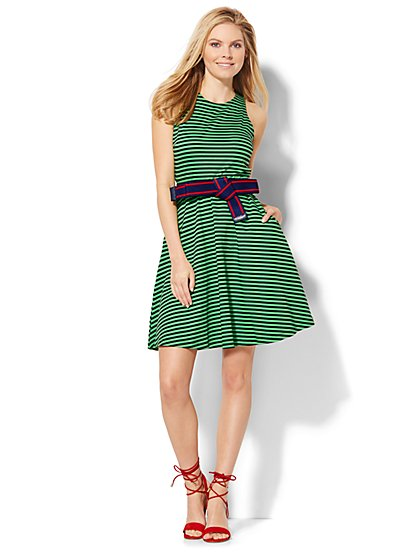 Sleeveless Flare Dress - Stripe  - New York & Company