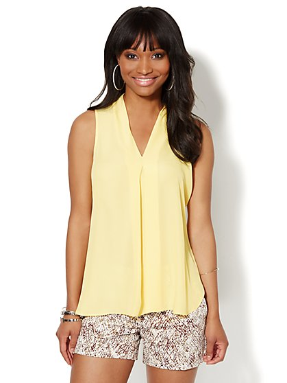 Sleeveless Inverted Pleat Blouse - New York & Company