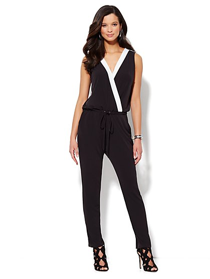 Sleeveless Jumpsuit - Contrast Trim