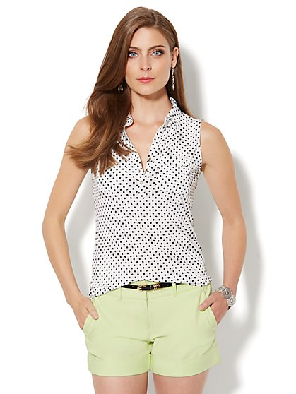 Sleeveless Knit Top - Polka-Dot - New York & Company