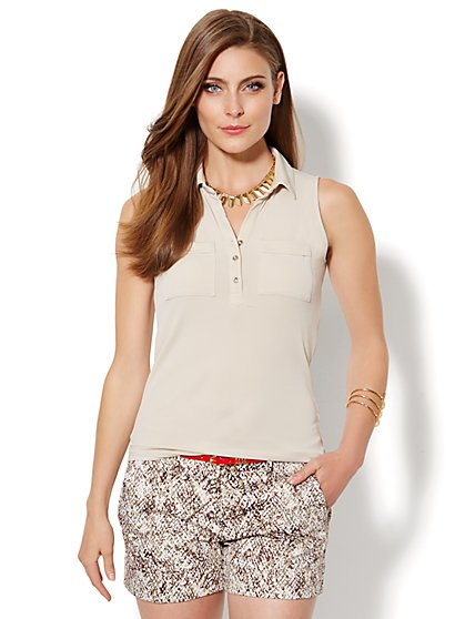 Sleeveless Knit Top - Solid - New York & Company