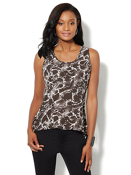 Sleeveless Marble-Print Blouse