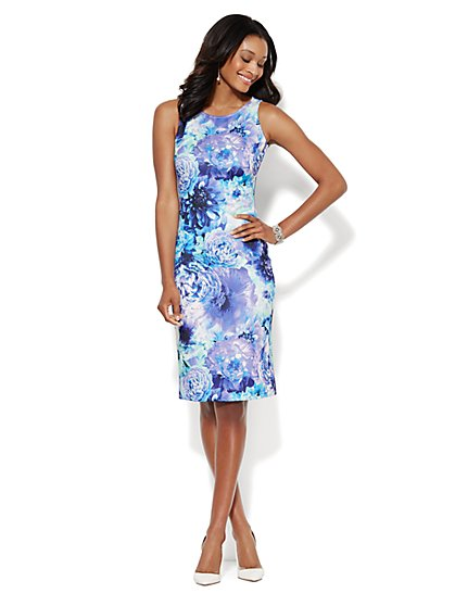 Sleeveless Midi Scuba Sheath Dress - Blue Floral  - New York & Company