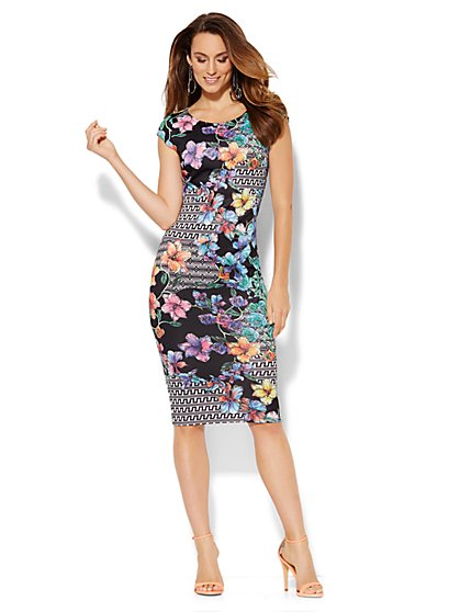 Sleeveless Midi Scuba Sheath Dress - Floral/Geo Print - New York & Company