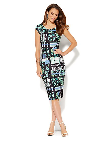 Sleeveless Midi Scuba Sheath Dress - Floral/Linear Print - New York & Company
