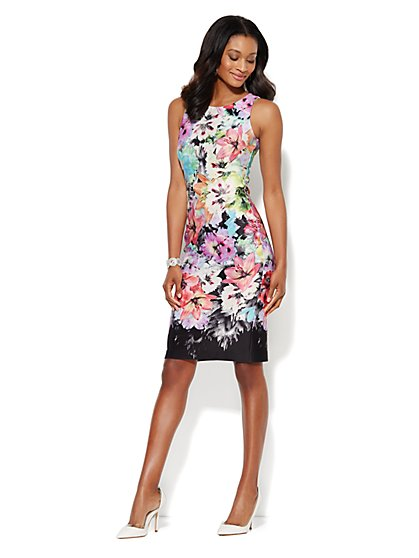 Sleeveless Midi Scuba Sheath Dress - Lily/Multi Floral  - New York & Company