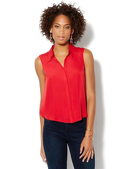 Sleeveless Mixed-Knit Shirt - New York & Company