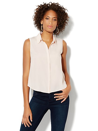 Sleeveless Mixed-Knit Shirt - New York & Company