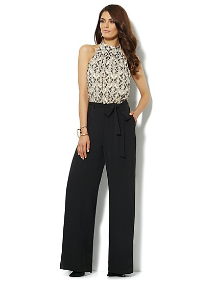 Sleeveless Mock-Neck Jumpsuit - Scroll-Print - New York & Company