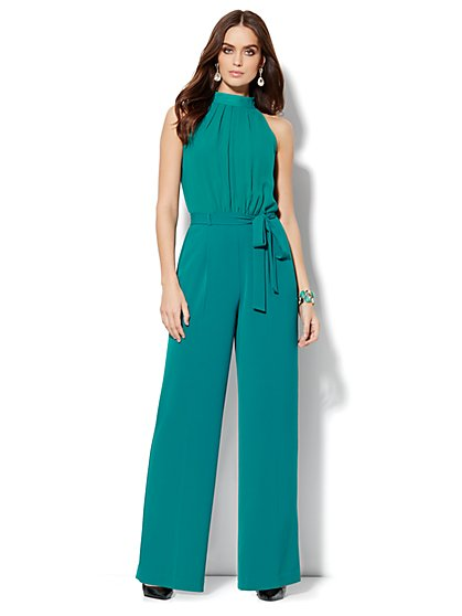 Sleeveless Mock-Neck Jumpsuit - Solid - New York & Company