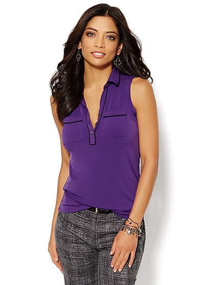 Sleeveless Piped Knit Shirt  - New York & Company
