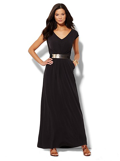 Sleeveless Pleat-Front Maxi Dress - Petite - New York & Company