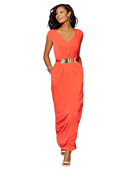 Sleeveless Pleat-Front Maxi Dress  - New York & Company