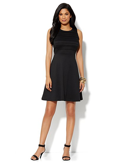 Sleeveless Ponte Skater Dress - Black