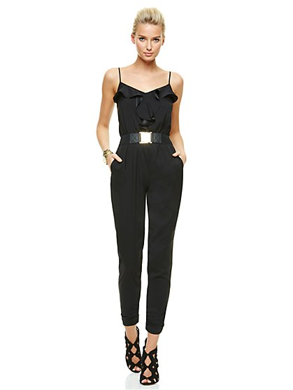 Sleeveless Ruffle-Front Jumpsuit