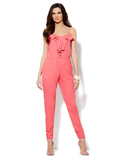 Sleeveless Ruffle-Front Jumpsuit - New York & Company