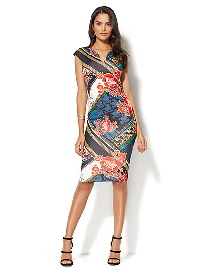 Sleeveless Sheath Dress - Mixed Print - New York & Company