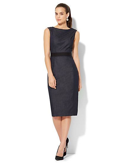 Sleeveless Shift Dress - Hidden Blue - Tall - New York & Company