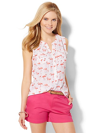 Sleeveless Soho Soft Shirt - Flamingo Print  - New York & Company