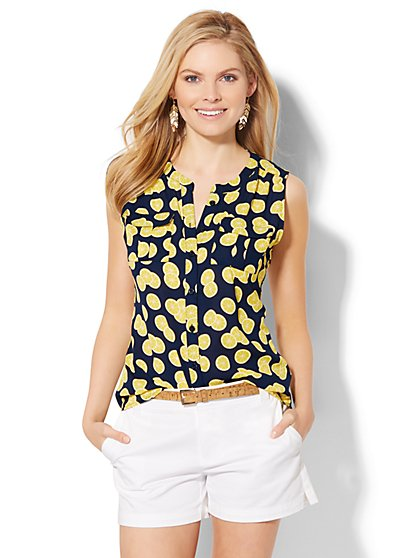 Sleeveless Soho Soft Shirt - Lemon Print  - New York & Company