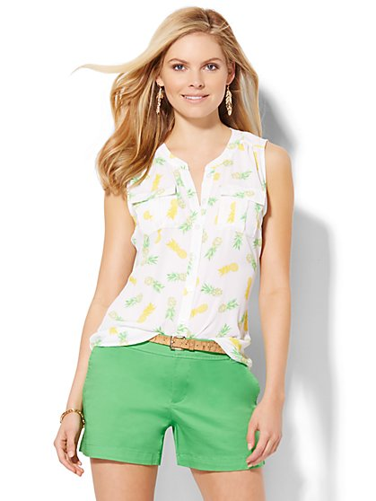 Sleeveless Soho Soft Shirt - Pineapple Print  - New York & Company