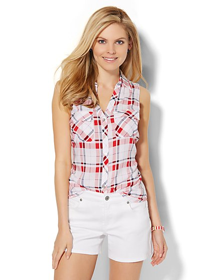 Sleeveless Soho Soft Shirt - Plaid  - New York & Company