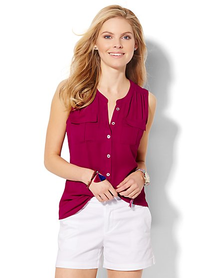 Sleeveless Soho Soft Shirt - Solid - New York & Company