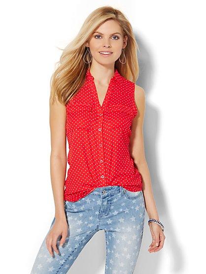 Sleeveless Soho Soft Shirt - Star Print  - New York & Company