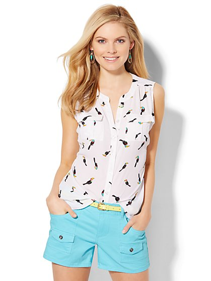 Sleeveless Soho Soft Shirt - Toucan Print  - New York & Company