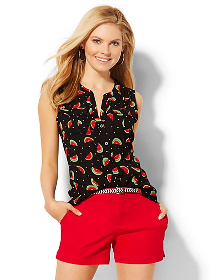 Sleeveless Soho Soft Shirt - Watermelon Print  - New York & Company