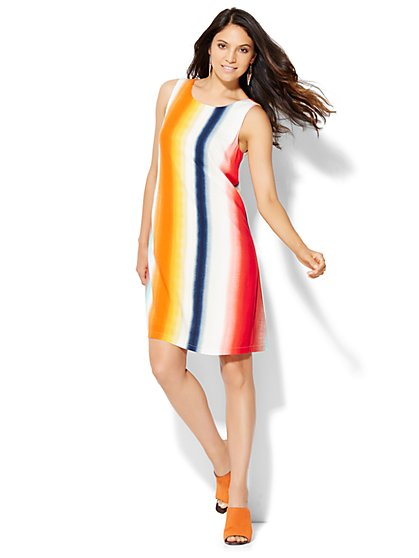 Sleeveless Swing Dress - Vertical Stripe - New York & Company