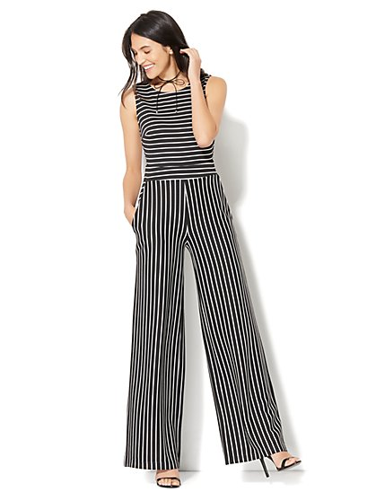 Sleeveless Tie-Back Jumpsuit - Stripe - New York & Company