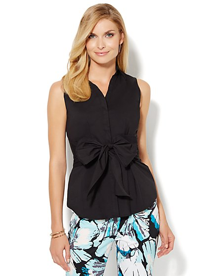 Sleeveless Tie-Front Shirt  - New York & Company