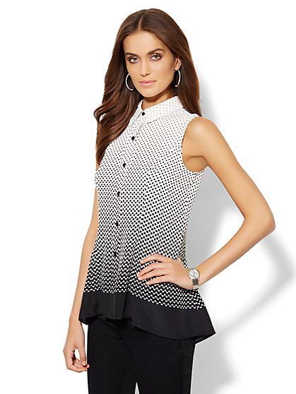 Sleeveless Tunic Blouse - Gradient Polka-Dot Print  - New York & Company